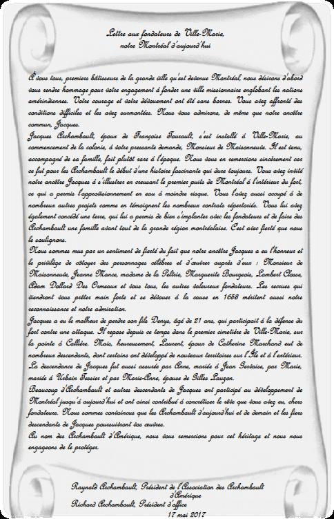 Lettre aux fondateurs de Ville-Marie